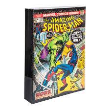 marvel comics luminart light up spiderman canvas multicoloured