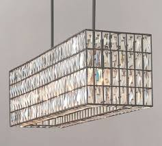 adeline crystal rectangular chandelier pottery barn for large rectangular chandelier view 2 of 45