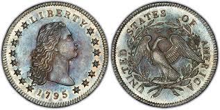 1795 1 3 Leaves Regular Strike Flowing Hair Dollar Pcgs