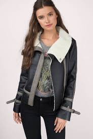 shearling jackets black grey the lucky one coat