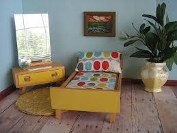 mid century modern dollhouse furniture. RESERVED-Vtg. 50s BODO HENNIG German Bedroom Furniture-Yellow Bed And Vanity Set-Mid Century Modern Dollhouse Furniture In Large 1:12 Scale Mid