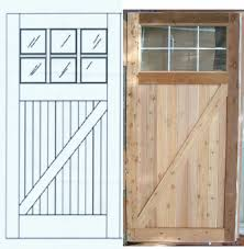 excellent pine wooden unfinished garage barn doors for homes with 6 glass lite top panels layout designs