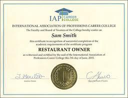 restaurant owner certificate course online registration