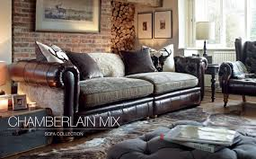 mixing leather sofa with fabric chairs