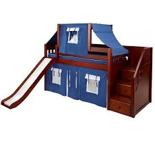 ... Low Loft Bed with Staircase and Slide shown with top tent and under bed  curtains