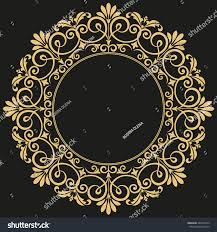 Decorative line art frame for design template. Elegant vector element for  design in Eastern style