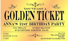 Party Ticket Invitations Gorgeous 48 BIRTHDAY INVITATIONS Personalised For You MAGNETIC Golden Ticket