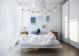 Bedroom Chic Scandinavian Bedroom Features Pinneti Cocoon Pendant Light  Also White Platform Bed Plus Bedding Besides