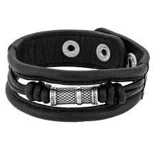 bourne and wildemens wide black leather bracelet ur18 04