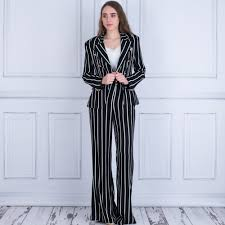 forever unique cara stripe suit double ted blazer black white