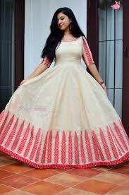 Dress Design Floor Length Leaf Design Anarkali In Red And Beige With Hand