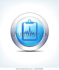 Patient Chart Clipboard Blue Icon Button Patient Chart Records Stock Vector Royalty
