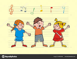 Stave Music Singing Children Background Stave Music Notes Vector Icon