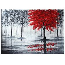 image is loading large modern abstract red black tree hand paint
