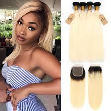 Straight 1B/613 <b>Ombre</b> Color Brazilian Virgin Hair 4 <b>Bundles With</b> ...