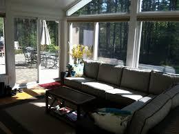 Simple Modern Sunroom With Long Seat Sofa
