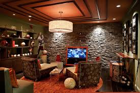 themed family rooms interior home theater: sports themed media room transitional home theater