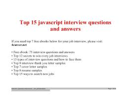 Top Javascript Interview Questions And Answers Job Interview