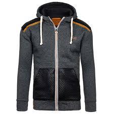 details of incerun men s pu leather zip hoody hoos sweatshirt sweater hooded coat jacket dark grey