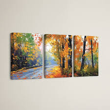 autumn backlight 3 piece painting print on wrapped canvas set