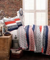 all gone navy orange stripe cotton quilt set