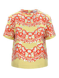 Red Valentino Floral Metallic Top