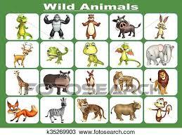 Wild Animal Chart Drawing K35269903 Fotosearch