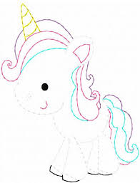 Unicorn Color Work Embroidery Design Unicorn Embroidery Design