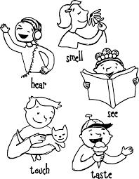 Children 5 Senses Coloring Page Wecoloringpagecom