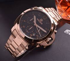 rose gold stainless steel band black face mens fashion wrist watch jpg 0112 jpg
