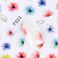 1 List Gradient Květina Série 3d Nehty Nálepky Obtisky Květinové Kreslené Lepidlo Manikúra Samolepky Klenot Nehty Výzdoba Umění F023