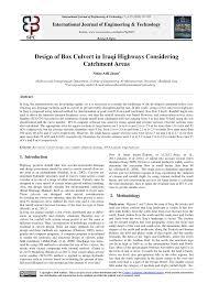 Box Drain Design Pdf Design Of Box Culvert In Iraqi Highways Considering