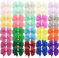 <b>40Piece</b> Boutique Grosgrain Ribbon <b>Pinwheel Hair</b> Bows Alligator ...