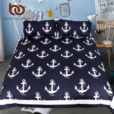 bedding anchor bedding set queen size for kids boy bedclothes dark blue and white duvet cover