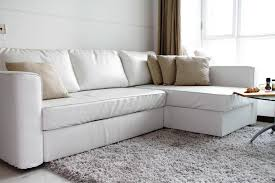 image of white ikea leather couch