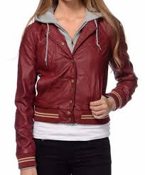 obey varsity lover burdy faux leather hooded zipper ons junior s jacket