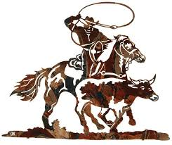 rodeo wrangling cowboy metal wall sculpture on cowboy metal wall art with rodeo wrangling cowboy metal wall sculpture metal wall art