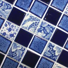 blue bathroom floor tiles. Porcelain Pool Tiles Floor Blue And White Tile Square Brick Glossy Ceramic Mosaic Wall Decor SPC144 Bathroom