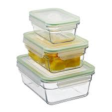 Set of Glasslock Rectangular Food Containers with Lids ...
