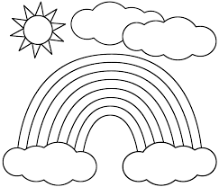 Small Picture Rainbow Sun and Clouds Coloring Page Nature