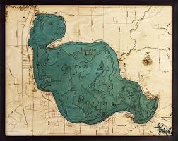Houghton Lake Michigan Wood Carved Topographic Depth Chart Map