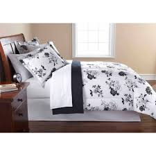 white and black bed sheets.  And Mainstays Black And White Floral BedinaBag Comforter Set  Walmartcom And Bed Sheets