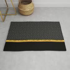 chic black gray greek key gold border rug