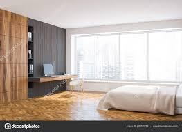 Panorama Fenster Weiß Grau Und Holz Schlafzimmer Innenraum Mit Einem
