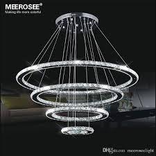 pendant lights mirror stainless steel crystal diamond lighting fixtures 4 rings led pendant lights dinning pendant lights