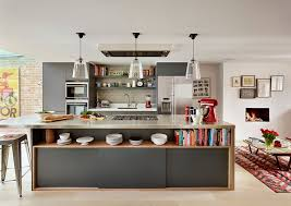 view in gallery dashing kitchen island in gray with open shelving and sleek stainless steel countertop from