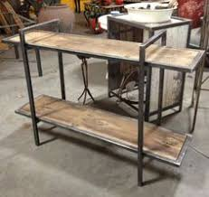 Modern industrial wood & steel bricklayer s style coffee table