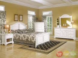 Details about Cottage Traditions Louvered Queen Bed 6 Piece Bedroom Set White Wood