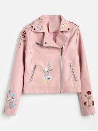 fl embroidered faux leather biker jacket pink m