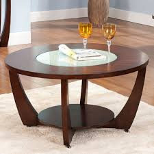 steve silver rafael round cherry wood and glass coffee table round coffee tables wood large coffee